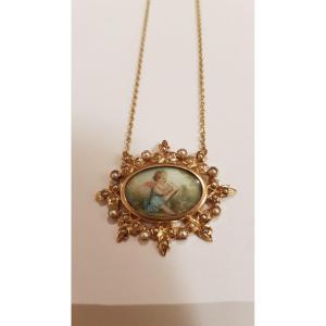 Pendentif Or- Perles- Miniature 19ème