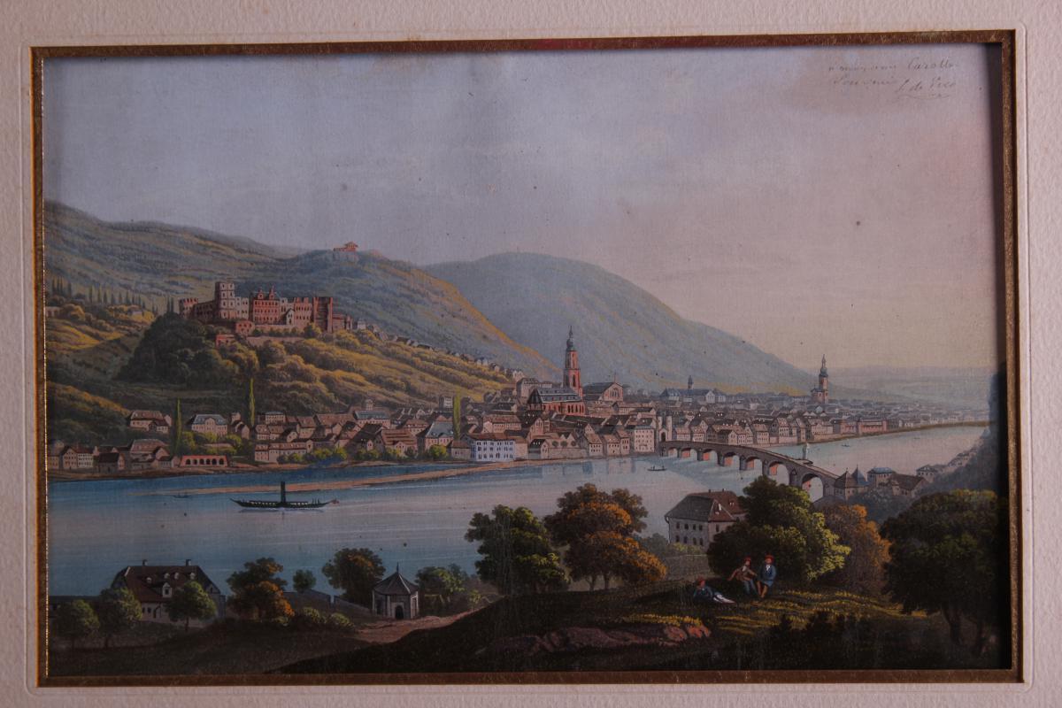 Tableau Chateau d'Heidelberg Allemagne Gouache-photo-2