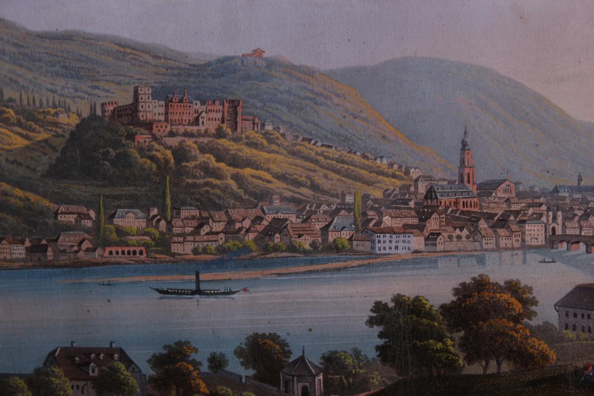 Tableau Chateau d'Heidelberg Allemagne Gouache-photo-3