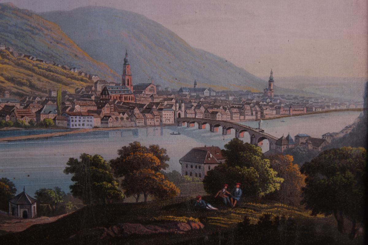 Tableau Chateau d'Heidelberg Allemagne Gouache-photo-4