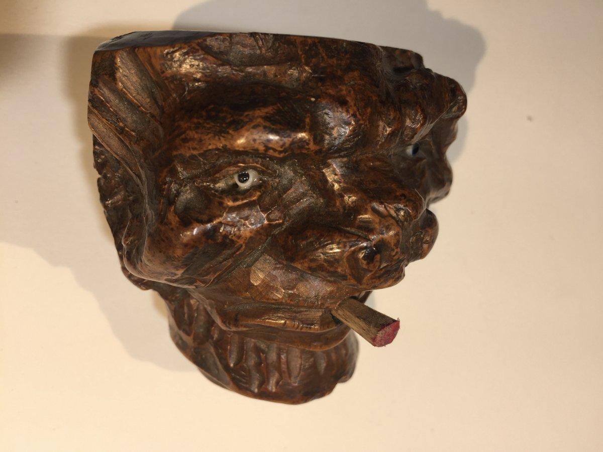 Fourneaux De Pipes En Racine De Bruyère Sculptée En Têtes De Grotesques -photo-3