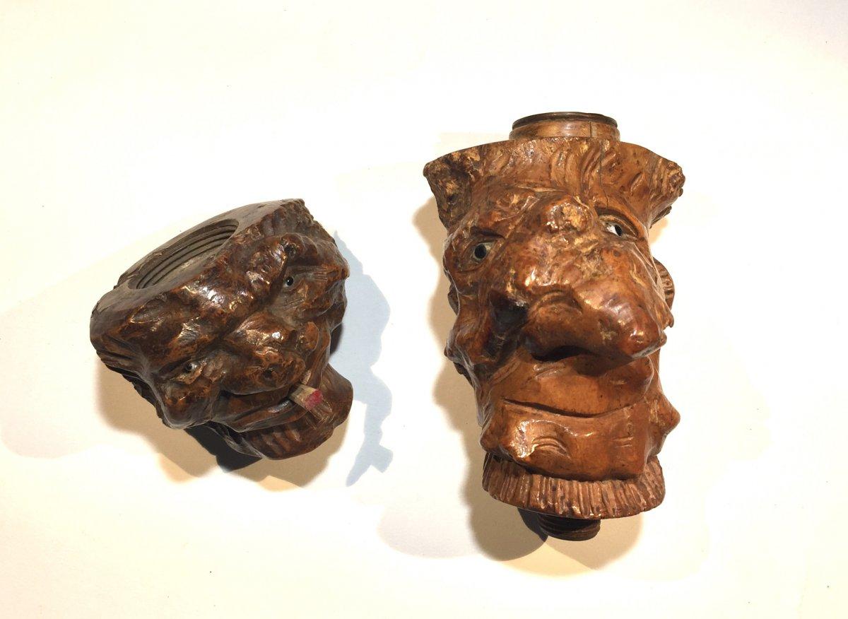 Fourneaux De Pipes En Racine De Bruyère Sculptée En Têtes De Grotesques -photo-5