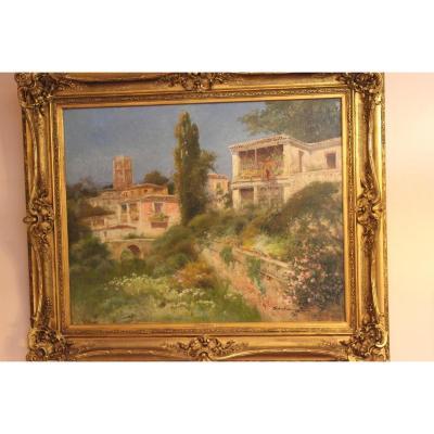 Peinture villas espagnoles et jardins fleuris SANCHEZ 19 ème