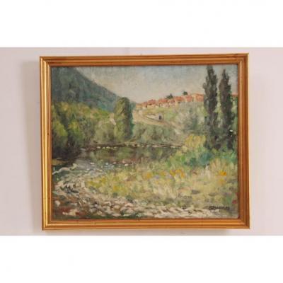 Tableau Peinture De André Descolas Gorges De l'Allagnon secteur Blesle