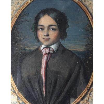 Portrait Miniature Jeune Fille 1852