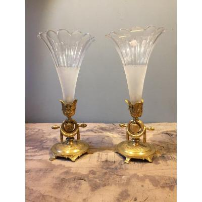 Paire De Vases Cornets Vénus et Apollon