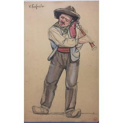 Cabrette Player By V. Fonfreide 1872-1934 Auvergne