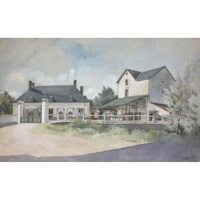 Pair Of Gouaches: 20th Century Architectural Drawing, Mill And Flour Mill