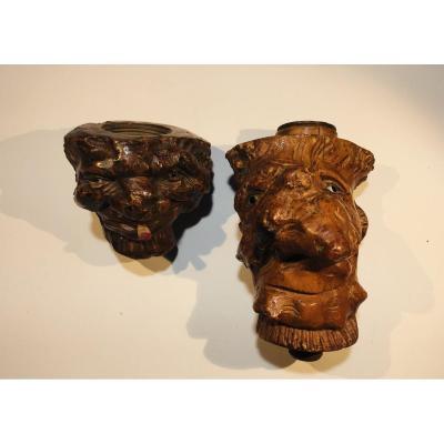 Fourneaux De Pipes En Racine De Bruyère Sculptée En Têtes De Grotesques