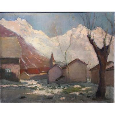 Paysage De Neige (Les Alpes) Charles Boutheon