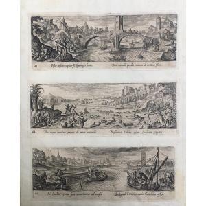 Philip Galle (1537-1612) Trois Gravures Sur La Pêche