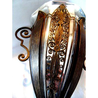 Exceptionnel Grand Vase Coupe Art-deco En Fer Forgé Et Metal Par F. Bauquin, Era Brandt Kiss