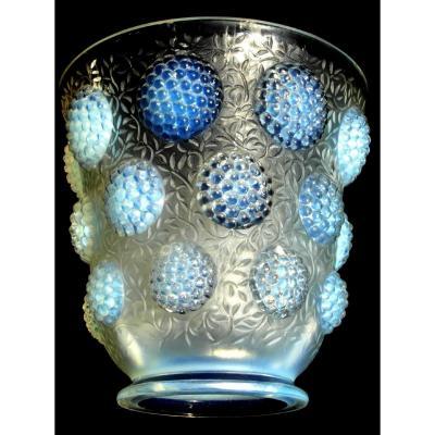 "Joli Vase Art-déco En Verre Opalescent Verlys ""cabochons"", era 1920 lalique sabino"