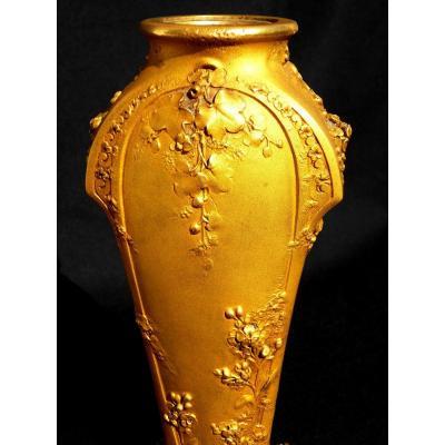 """Joli Vase Art-nouveau En Bronze Dit """"à épaule"""" par GUENARDEAU , fondeur SUSSE, vers 1900"""