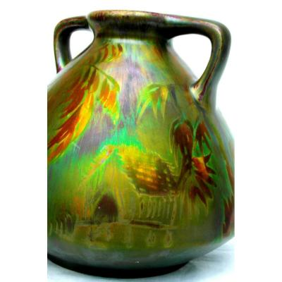 """Very Pretty Iridescent Vase """"cabin In The Jungle"""" By Montières, Perfect 1920 Era Massier"""