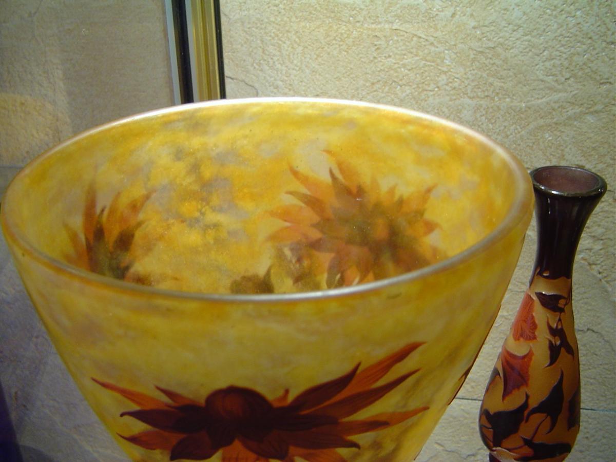 Important Vase Verre Multicouches Debut XXème  Daum Nancy