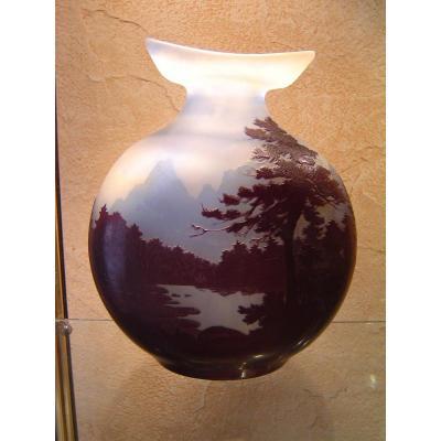 Important Vase Gallé Décor Vosgien