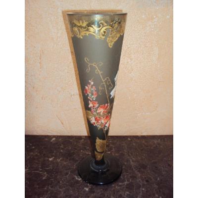 Grand Vase Cornet Legras Montjoye Cristallerie De Saint Denis