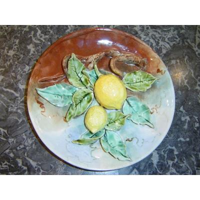 Fives Lille Assiette En Barbotine Decor En Trompe L Oeil De  Citrons