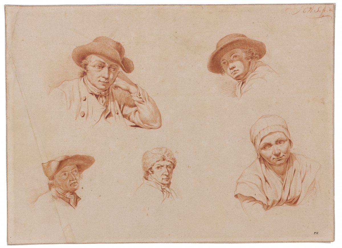 Johan Christiaan Wilem Safft (1778 - 1849) : Five Head Studies Wearing Hat
