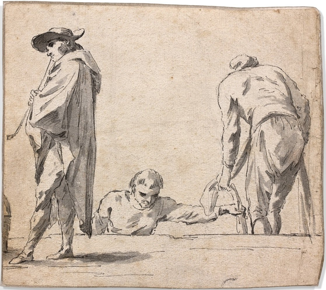 French School Of The 18th Century: Figures In A  Harbour