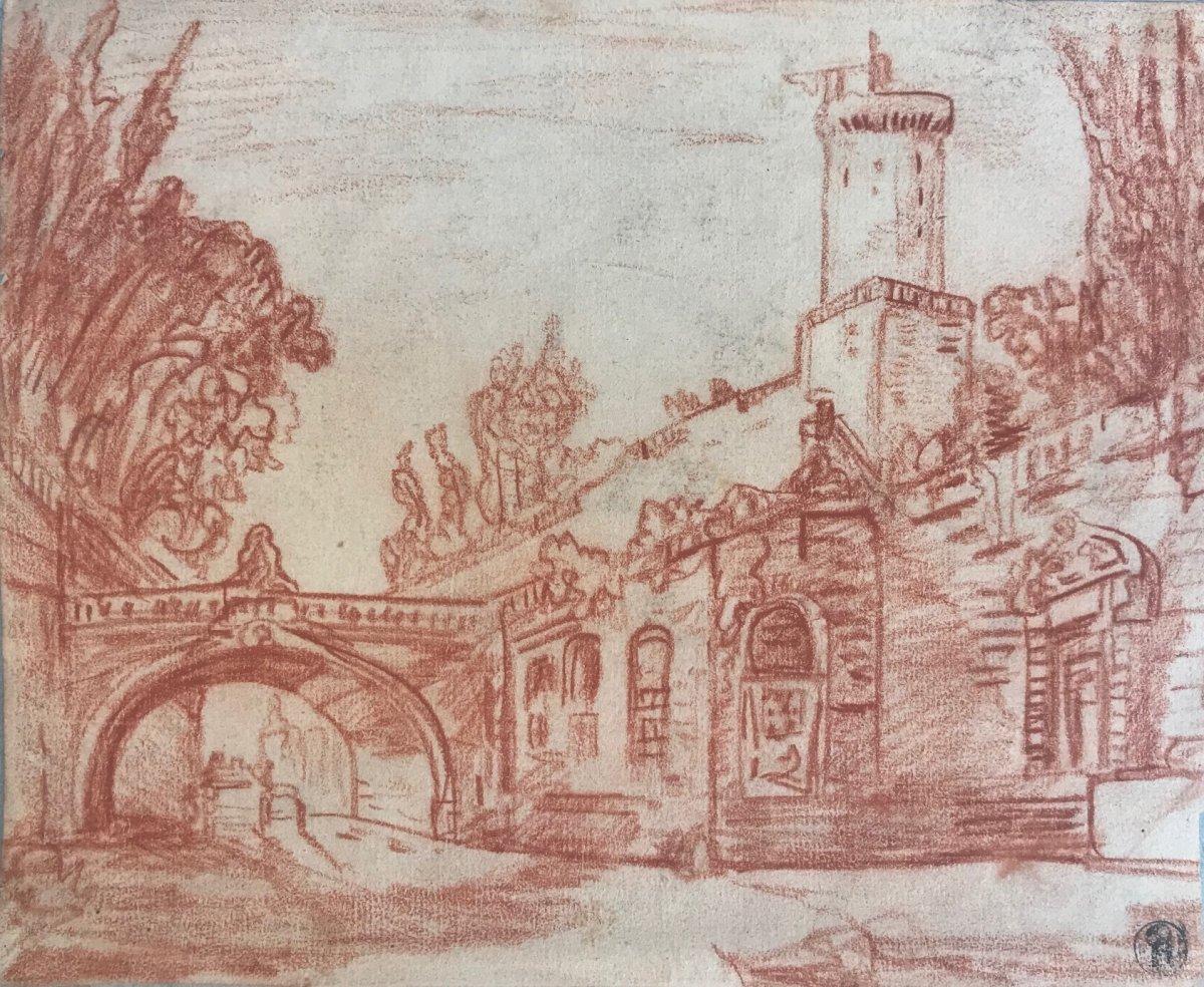 École française du XVIIIe siècle : Vue d'une ville fortifiée