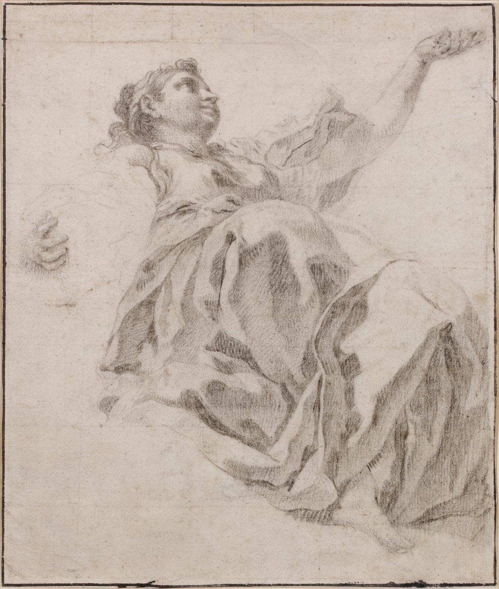 Francesco Polazzo, Attribué à  - Étude d'Une Figure Féminine Drapée Vue Da Sotto In Su