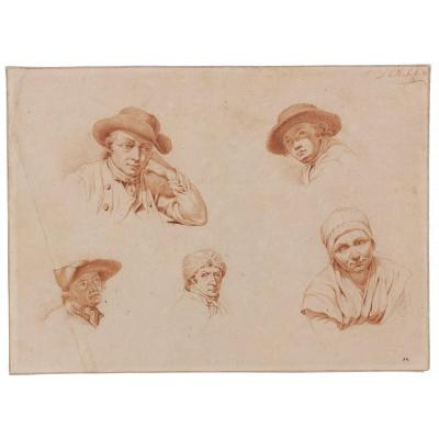 Johan Christiaan Wilem Safft (1778 - 1849) : Five Head Studies Wearing Hat
