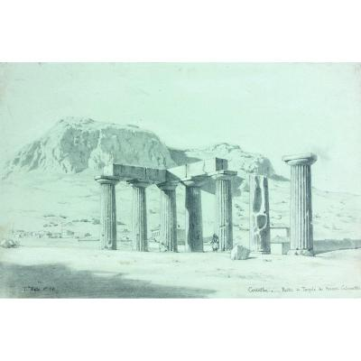 Théodore Ballu (1817 - 1885): The Ruins Of The Temple Of Apollo In Corinth