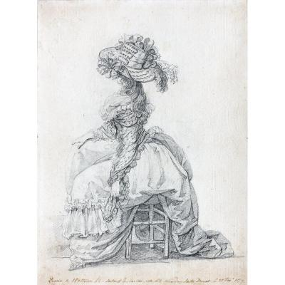 François Watteau, Called Watteau De Lille: Study Of An Elegant, Sitting In Profile