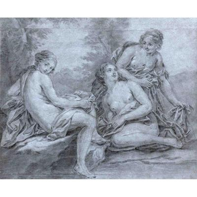 Joseph-françois-pierre-ignace Parrocel (avignon 1704 - 1781 Paris): Three Women Bathing