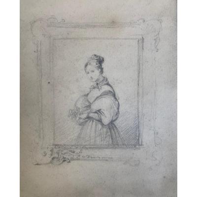 École Française  Du XIXe Siècle : Portrait De Femme Dans Un Cadre