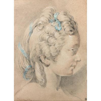 Jacques-philippe-joseph De Saint-quentin - Portrait D'une Jeune Fille Au Ruban Bleu