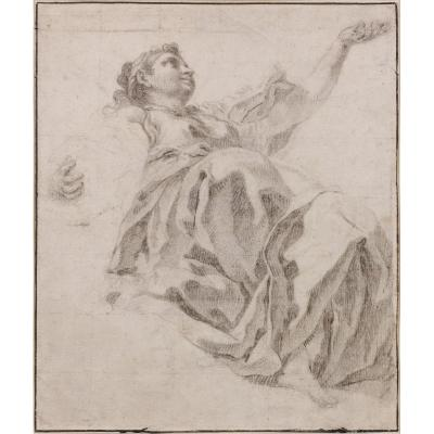 Francesco Polazzo, Attributed To - Study Of A Female Figure Draped View Da Sotto In Su