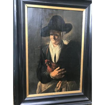 XIXth Century French School - Old Woman Holding A Hen