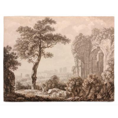 Emanuel Steiner (1778 - 1831) : Paysage Italianisant Avec La Casa Aurea Et Un Homme