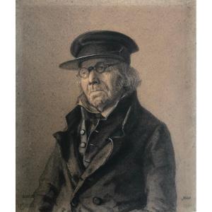 Jacques Joseph Baile (1819-1856): Portrait Of A Man With Glasses