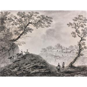 Jean Baptiste Pillement (1728 - 1808) : Paysage Aux Bergers
