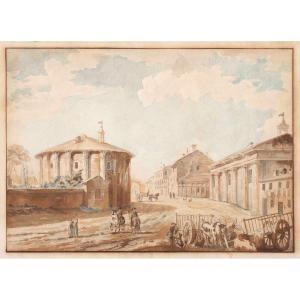 Deux Vues De Rome:  La Place Du Capitole et Le Temple Hercule Victor