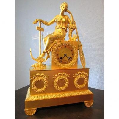 Pendule Bronze Doré Empire