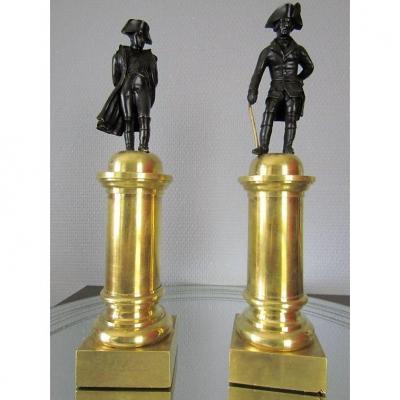 napoléon Bonaparte  Et  Frederic II Roi De Prusse  En Bronze