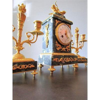 Pendule Napoléon III, Marbre Et Bronze