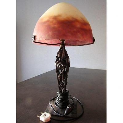 Lampe Champignon Pate De Verre Art   Deco  Muller Frères Lunéville