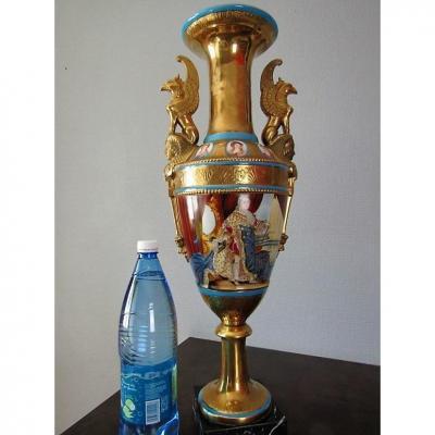 Important Grand Vase En Porcelaine De Paris Hauteur 64 Cm