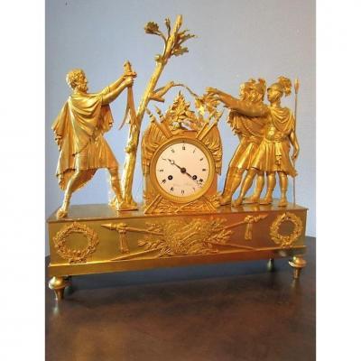 Pendule Bronze Doré Empire  Le Serment Des Horaces