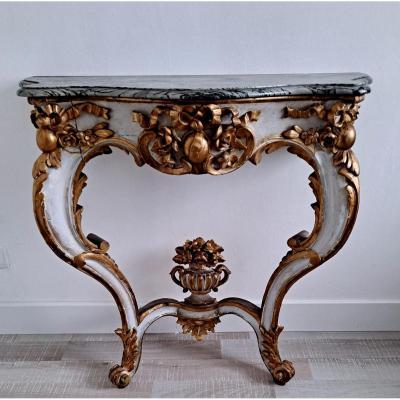 Console Bois Laqué Et Doré Style Louis XV Début XIXème