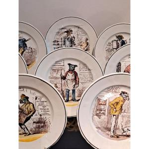 Assiettes à Décor d'Animaux Humanisés En Faïence De Vieillard XIXème