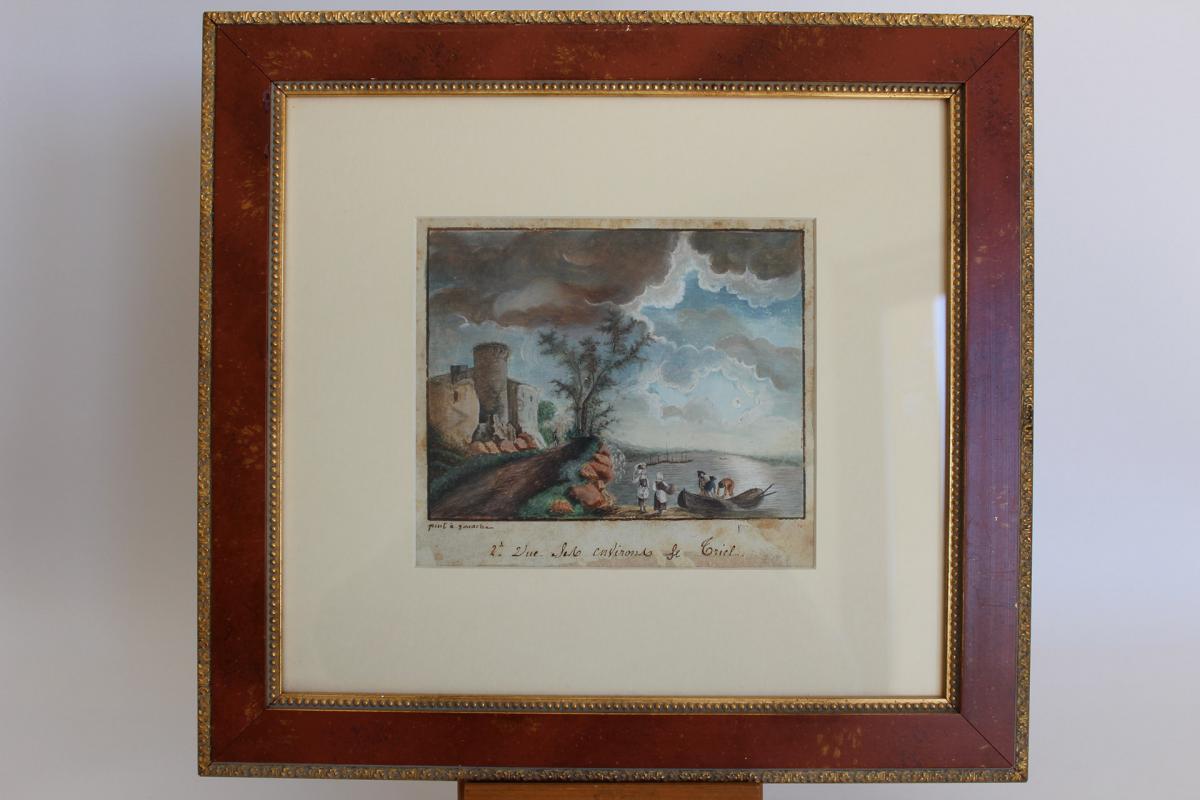Paire De Peintures à La Gouache, XVIIIe Siècle, Représentant Deux Paysages Marins
