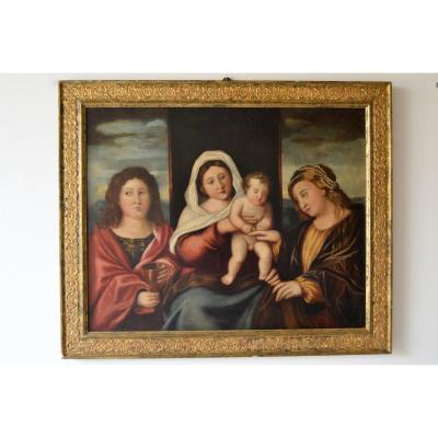Cercle De Francesco Rizzo Da Santacroce (1507/1545) Madone Avec Enfant Et Saints
