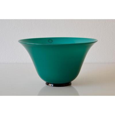 Vase En Verre De Murano En Opaline Vert Menthe Mod. Années 30 Signé Venini